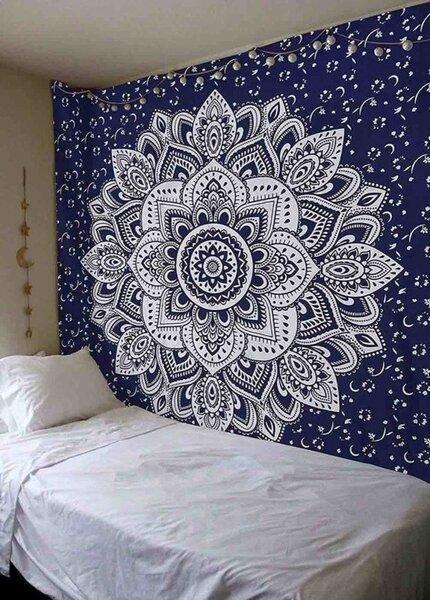Blaue Mandala Wandbehänge